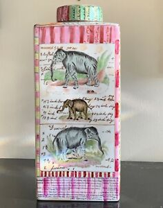 Tozai Home John Derian New York Hand Painted Jungle Animals Lidded Pottery Jar