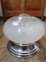 Lampada abat-jour vintage SPACE AGE vetro acciaio UFO stile nason gramigna 30cm