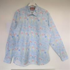 Thomas Pink Surf Board Pastel Holiday  Long Sleeve Slim Casual Shirt Size XL