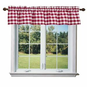 lovemyfabric Gingham Checkered Poly Cotton Plaid Design Kitchen Curtain Valance