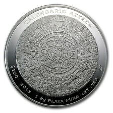 2013 1 Kilo Silver Mexican Aztec Calendar Coin - Box and Certificate -SKU #77525