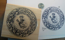 "P8 Italian witch ""Gratta"" rubber stamp 3"" WM Halloween"