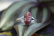 Gorgeous Navajo Sterling Silver Ring Multi Inlay Red Opal Stones SZ 5, 6.5, & 7