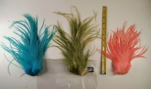 3 Olive Pink & Blue ROOSTER SADDLE HACKLES FLY TYING CRAFT FEATHERS LOT #22