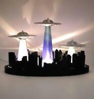 Aliens UFO Saucers World Invasion Model Diorama Custom Made Lighted Up Version