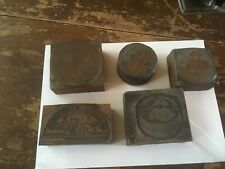 "5 SMALL Vintage Wood & Copper ""NAPOLÉON CAMEMBERT'Printer Block Die Stamps"