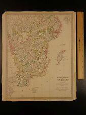 1844 BEAUTIFUL Huge Color MAP of South Sweden Scandinavia Sverige Gottland ATLAS
