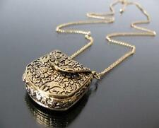 Vintage Style Bag Shape Carved Bronze Locket Pendant Long Necklace Chain