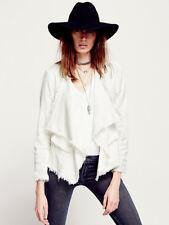 NWT Free People Raw Femme draped Linen Jacket blazer Small S shell white