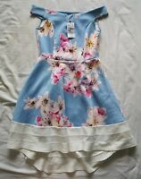 QUIZ Women's Light Blue Floral Dip Bardot Dress Size 12 New With Defects