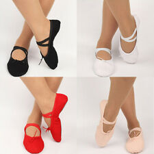 Adult Kid Canvas Ballet Dance Shoes Soft Pointe Dancing Gymnastics Slippers Sanw