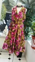 GORGEOUS JESSICA HOWARD MULTI  FIT AND FLARE EVENING DRESS SIZE 10 PINK & GOLD