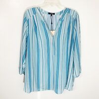 NYDJ Blue White Striped 3/4 Sleeve Popover Blouse Women's Plus Size 1X New