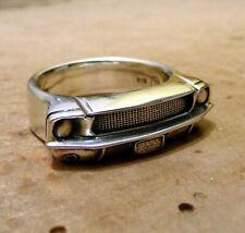 Ford Mustang 1968 Bull Ring V8 Silberring 925 Sterling Silber HANDARBEIT NEU