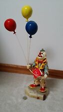 "Ron Lee 1981 Signed 21"" Collectible Clown Figurine 'Rudy Holding Balloons' RARE"