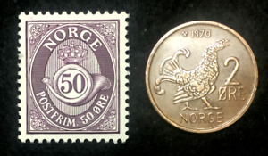 Norway Collection  - Unused Stamp & Circulated 2 Ore Coin - Educational Gift.