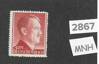 #2867     MNH 3RM Adolph Hitler stamp / 1942-1944 Third Reich Germany /  Sc526a