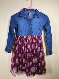 JUSTICE Denim Burgundy Floral tulle Tutu waist Dress. Girls 7 Roll Tab Sleeves