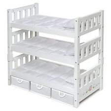 Badger Basket 15309 1-2-3 Convertible Doll Bunk Bed with Storage Baskets - White