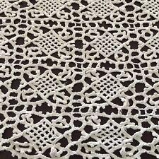 "11"" X 38"" Vintage Hand Crocheted Intricate Dresser Scarf Runner  White Ivory"