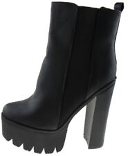 Ladies Adriana Block Heel Chunky Platform Retro Chelsea Ankle BOOTS UK 4 - 8 UK 8 US 10 Black