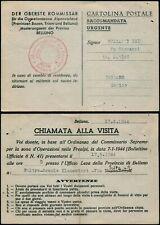 I946 Italy fieldpost postcard Belluno Bribano 1944