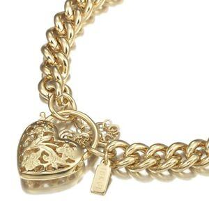 18K Yellow Gold GL Womens Solid Med Euro Curb Bracelet /Bangle & Filigree Heart