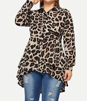 Plus Size Leopard Print Collar Neck Long Sleeve Elegant Asymmetric Blouse Top