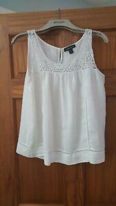 Cynthia Rowley White 100% Linen Sleeveless Top Size s (12) Lace Trim NWOTS