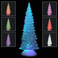 32cm Acrylic Ice Effect Colour Changing  LED Christmas Tree Battery Operated New