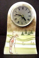 Fenton Glass Golf Scene Table Clock Gifts For Men