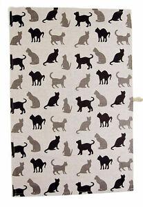 "Linen Kitchen Tea Towel / Large Napkin 45X70 cm (17.7""x27.5"") with Cats Pattern"