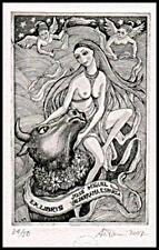 Ettore Antonini C3 Exlibris 2007 Europa and Bull Erotic Nude Taurus Angel s143