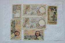 France Banknotes, 6 total, 1940-60, 5 Fr, 10 Fr, 100 Francs