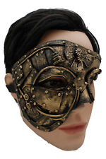 Unisex Black Gold Half Face Mask Gothic Steampunk Halloween Costume Future Party