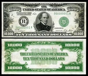Reproduction 1934  Series   $10,000 bill   / high resolution & detail