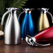 STAINLESS STEEL DOUBLE WALL INSULATING JUG VACUUM THERMOS FLASK TEAPOT COFFEE 2L