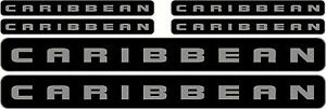 CARIBBEAN, 2 Colour Set with trim,  Fishing Boat Sticker Decal Marine Set of 6