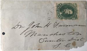 GREEN CSA#1 1861 5c CONFEDERATE STATES COVER, Milledgeville GA to SC