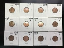 Lot of 12 1919-P 1919-D 1919-S LINCOLN WHEAT PENNY CENTS. L012