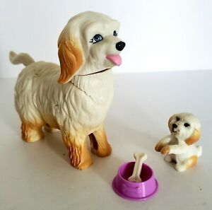 Mattel Barbie Sheep Dog & Puppy Bone Bowl Moveable Head Tail Plastic 1980's