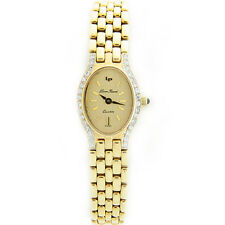 W302-Solid 14k Yellow Gold Diamond Case Lucien Piccard Ladies Quartz Watch Mint!
