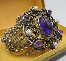 Mächtiges traumhaftes 925 Silber Armband mit Amethyst und Perlen