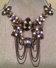 New $88. FREE PEOPLE Anthropologie Crystal Statement Necklace Blue RARE Pretty!