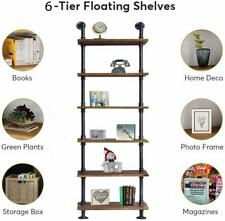 Industrial 6-shelf Wall Shelves Iron Pipe Wood Vintage Bookcase Home/Office DIY