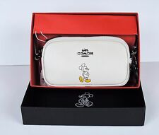 New X Coach boxed DISNEY Mickey Mouse Pouch Crossbody Bag Leather Chalk 56268b