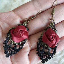 Womens Red Rose Satin Flowers Black Lace Trims Dangle Antique-Tone Hook Earrings
