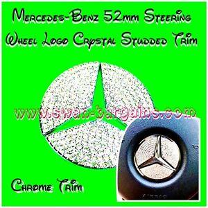 Mercedes Benz 52mm Steering Wheel Star Logo Emblem Chrome Silver Diamond Trim