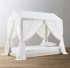 Restoration Hardware Cole Tassel Voile Bed Canopy FULL White/Natural $249