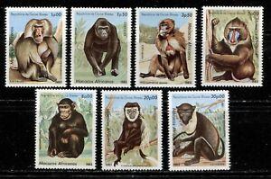 GUINEA BISSAU 1983, WILD ANIMALS: AFRICAN APES, MONKEYS Scott 457-463, MNH